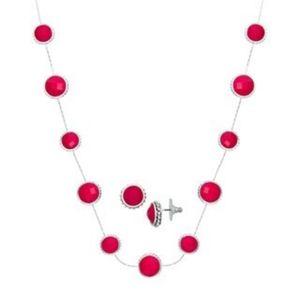 Napier Trio Silvertone Red Collar Jewelry Set